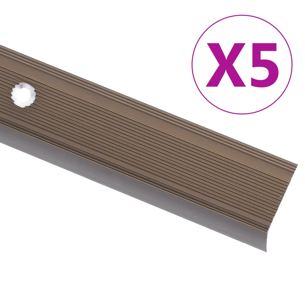 Schodové hrany ve tvaru L 5 ks hliník 90 cm hnědé