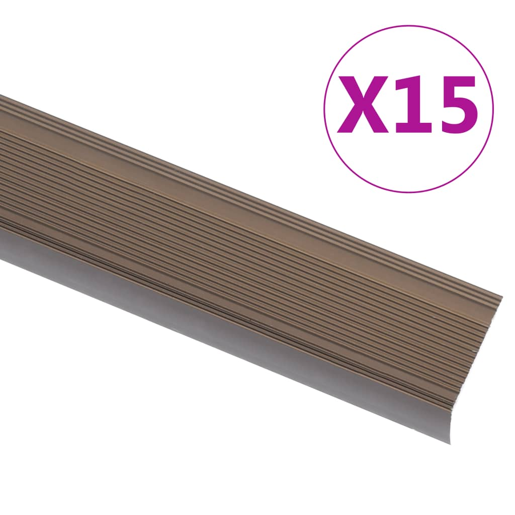 Schodové hrany ve tvaru L 15 ks hliník 90 cm hnědé