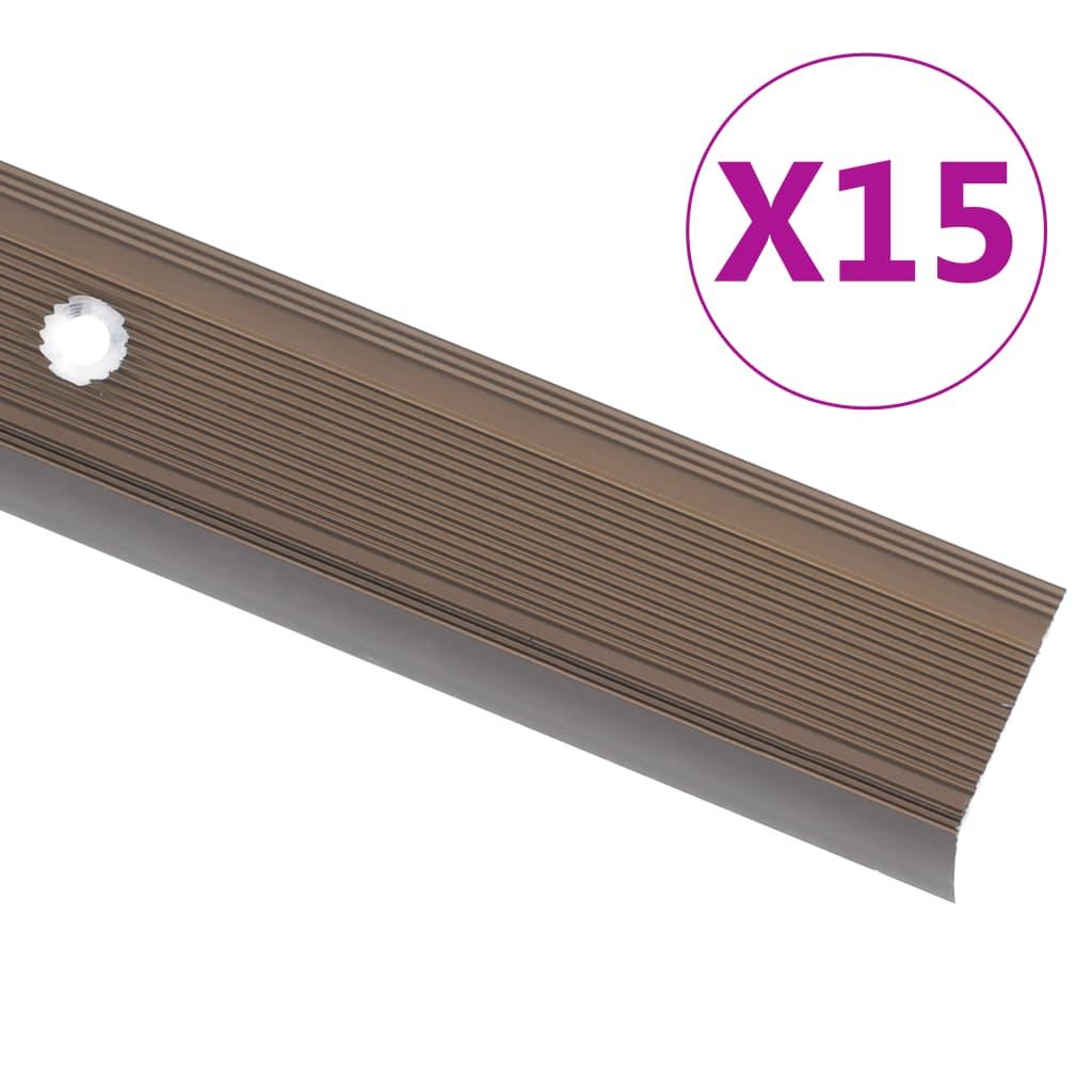 vidaXL Profile trepte în formă de L, 15 buc., maro, 90 cm, aluminiu vidaxl.ro