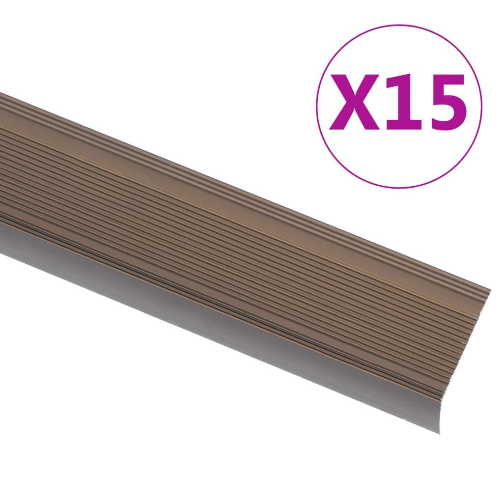 vidaXL Profile trepte în formă de L, 15 buc., maro, 90 cm, aluminiu poza vidaxl.ro