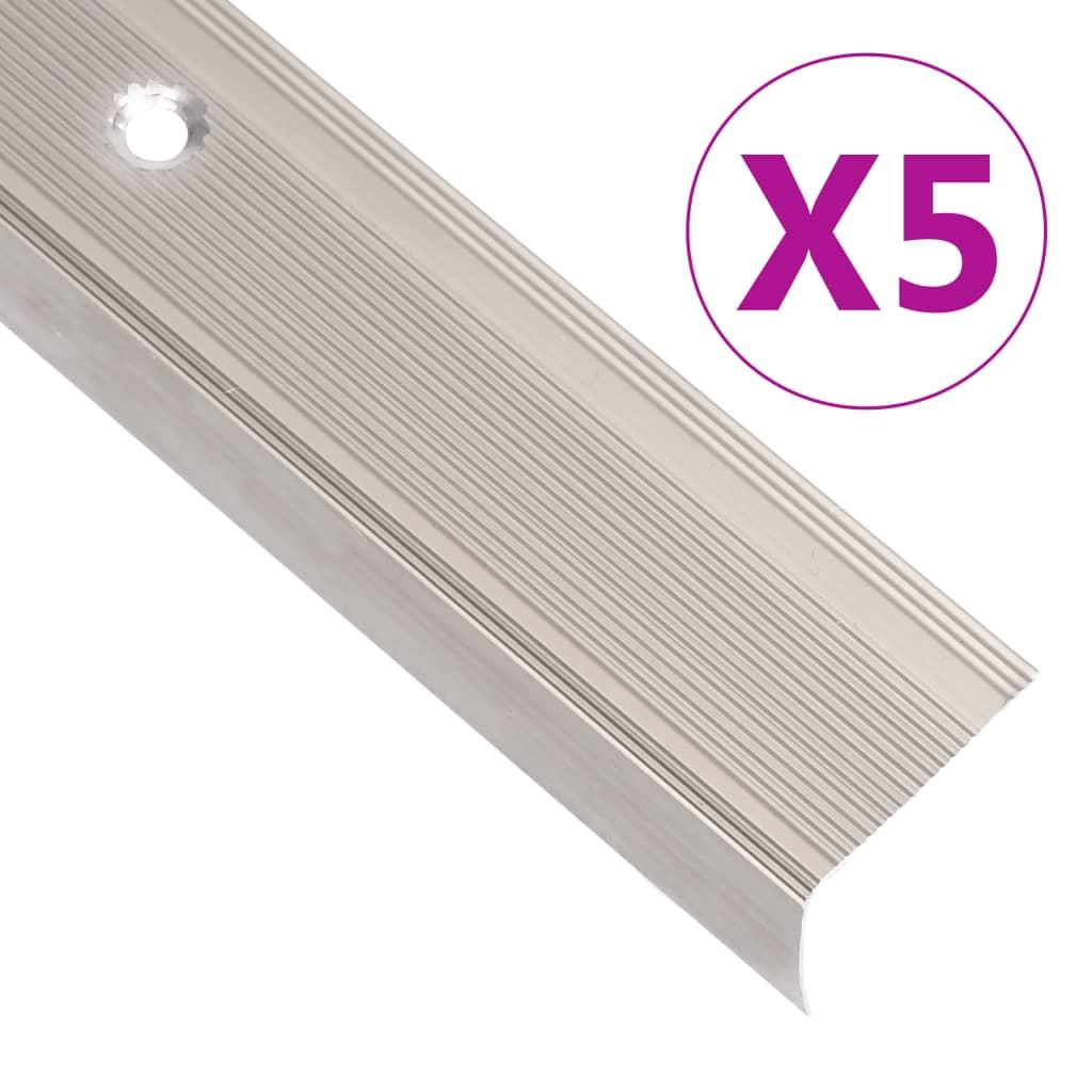 vidaXL Profile trepte în formă de L, 5 buc., șampanie, 90 cm, aluminiu poza 2021 vidaXL