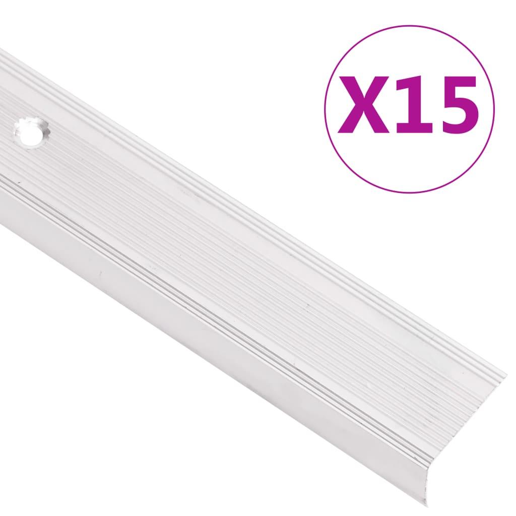 vidaXL Profile trepte în formă de L 15 buc, argintiu, 134 cm, aluminiu vidaxl.ro