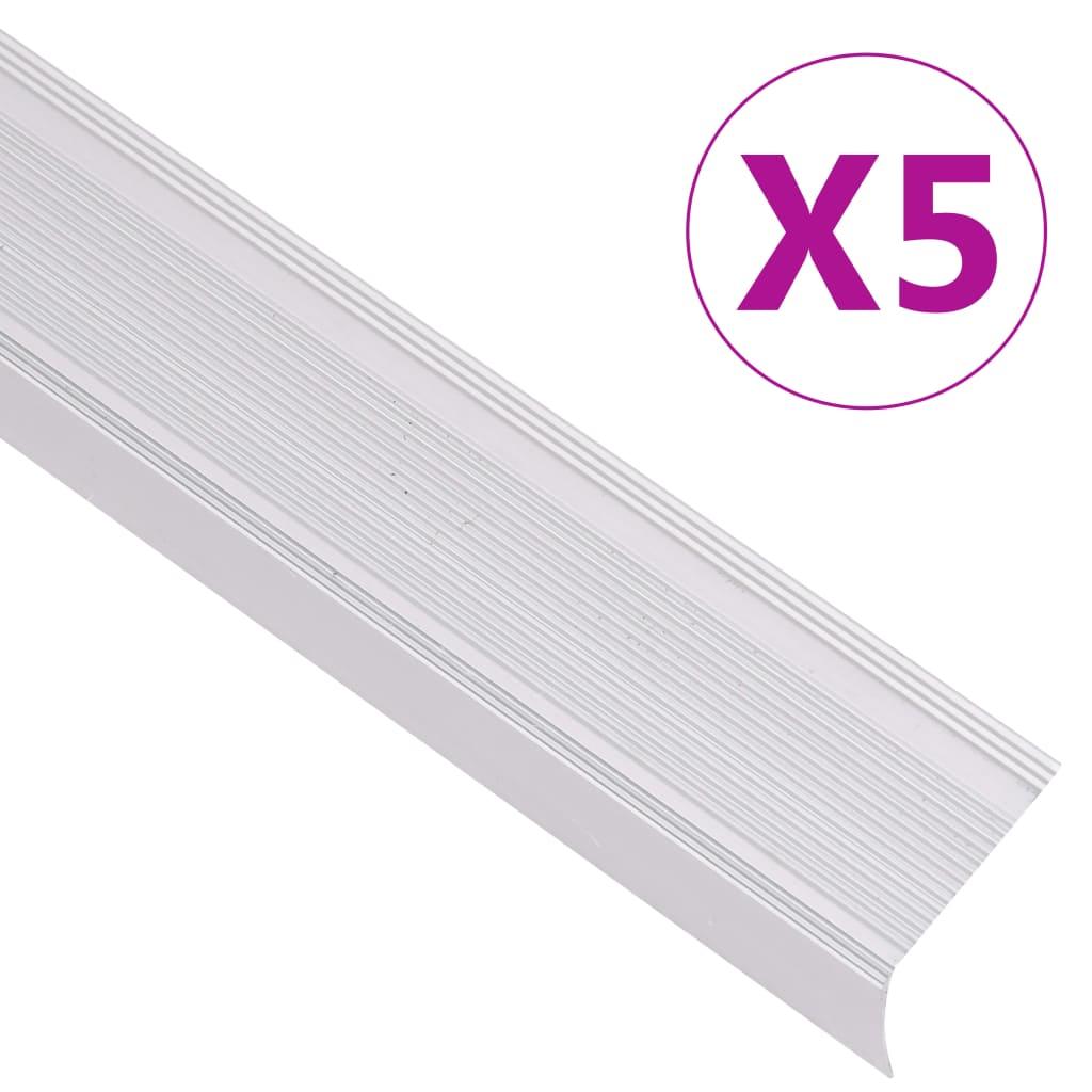 vidaXL Profile trepte în formă de L, 5 buc, argintiu, 134 cm, aluminiu vidaxl.ro