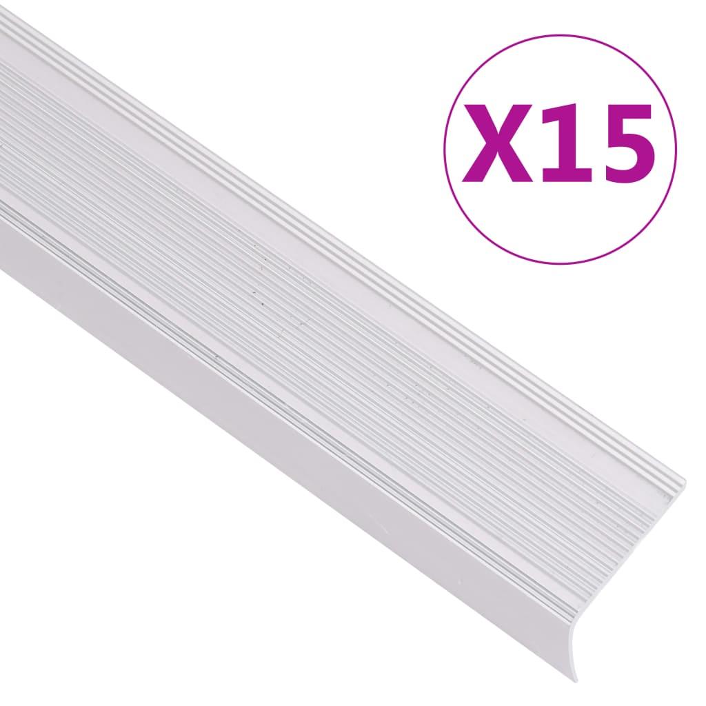 vidaXL Profile trepte în formă de L 15 buc, argintiu, 134 cm, aluminiu poza 2021 vidaXL