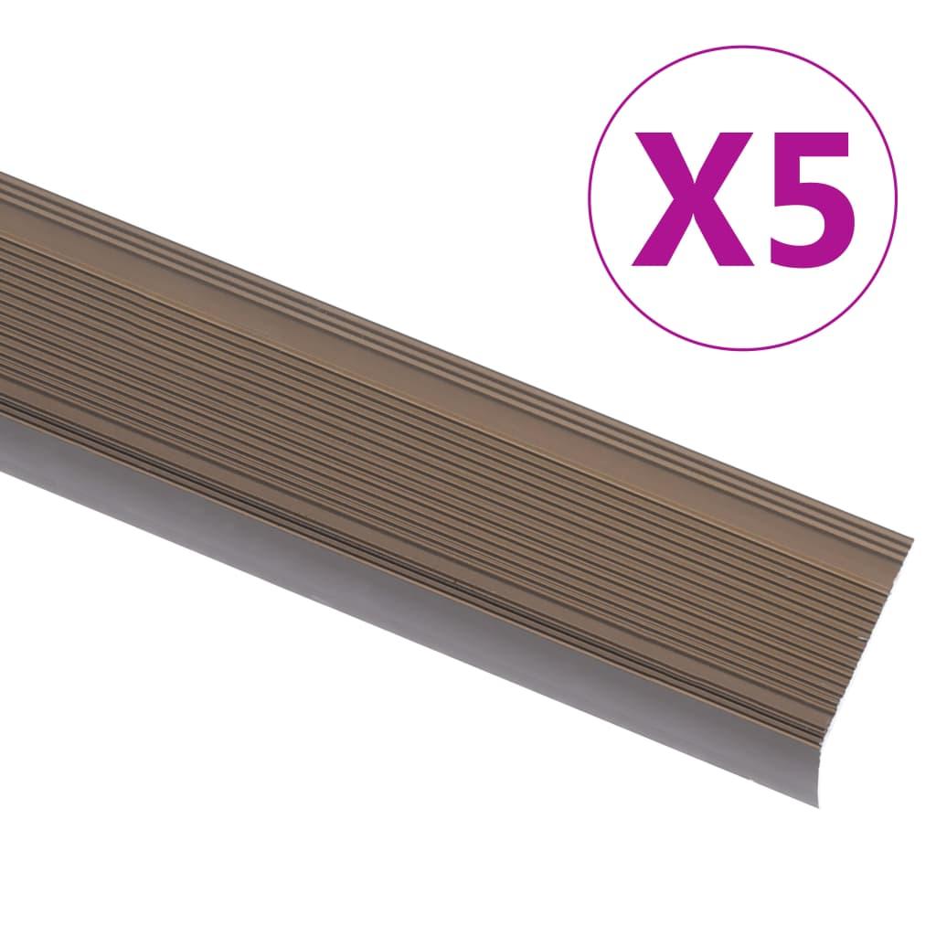 vidaXL Profile trepte în formă de L, 5 buc., maro, 134 cm, aluminiu poza 2021 vidaXL