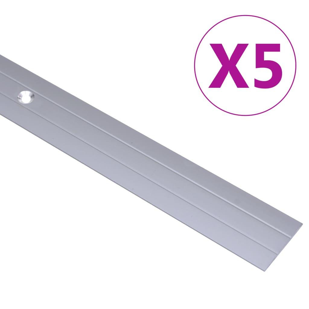 vidaXL Profile de pardoseală, 5 buc., argintiu, 100 cm, aluminiu vidaxl.ro