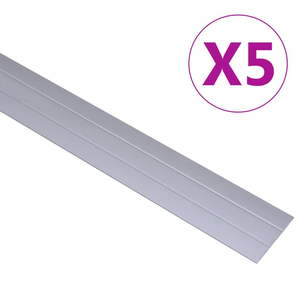 Podlahové profily 5 ks hliník 100 cm stříbrné