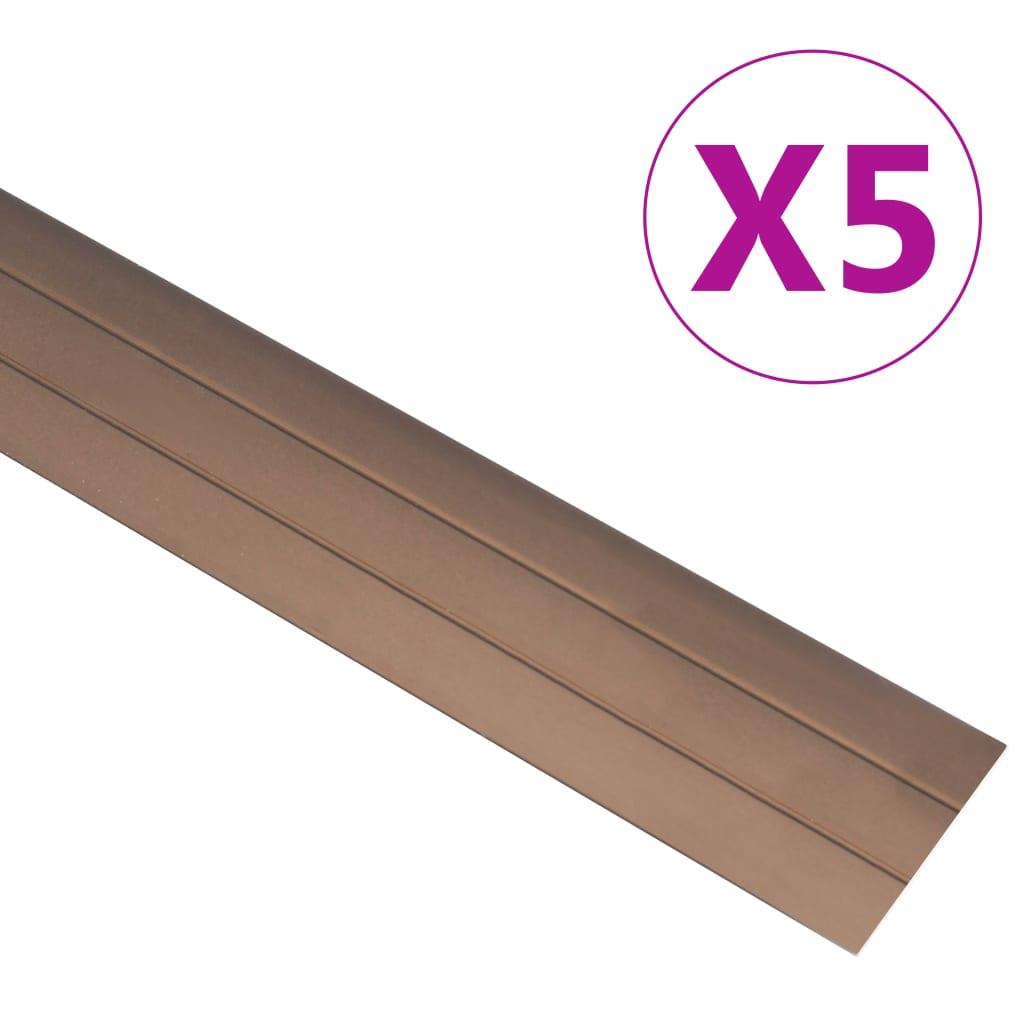 vidaXL Profile de pardoseală, 5 buc., maro, 100 cm, aluminiu vidaxl.ro
