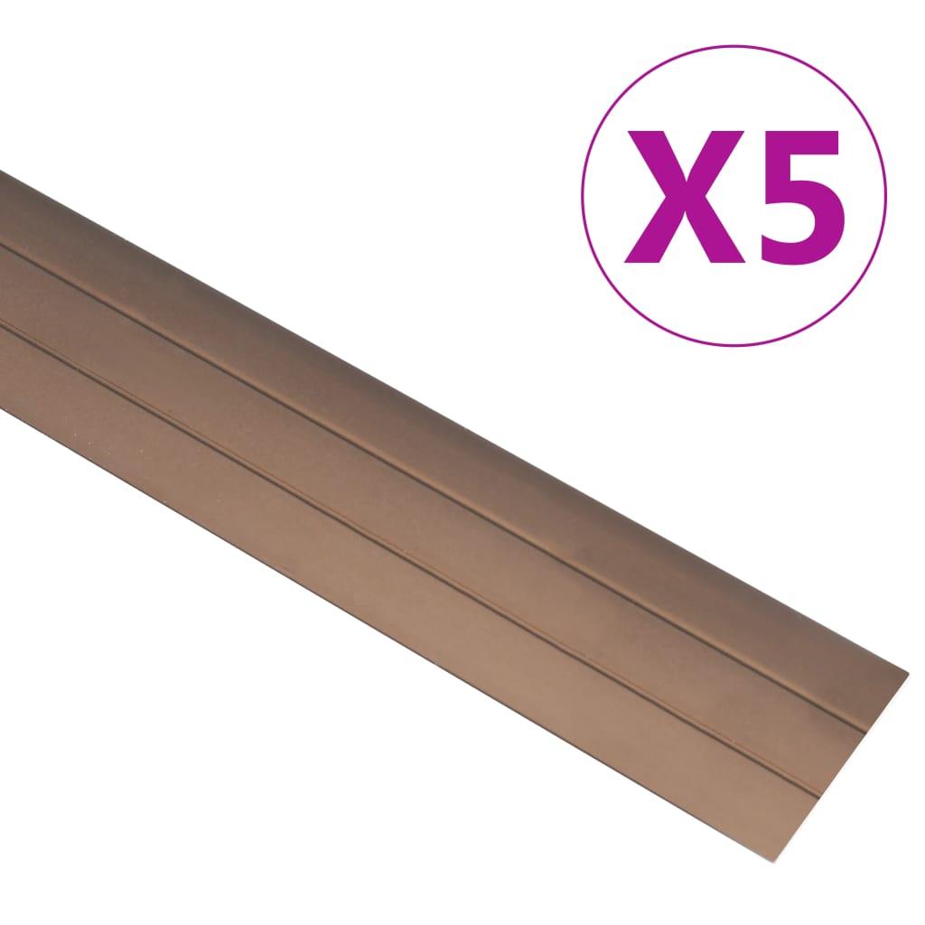 vidaXL Profile de pardoseală, 5 buc., maro, 134 cm, aluminiu vidaxl.ro