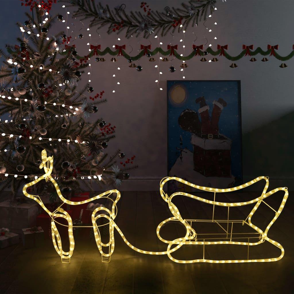 vidaXL Decorațiune de Crăciun cu ren și sanie, 252 leduri, exterior poza 2021 vidaXL