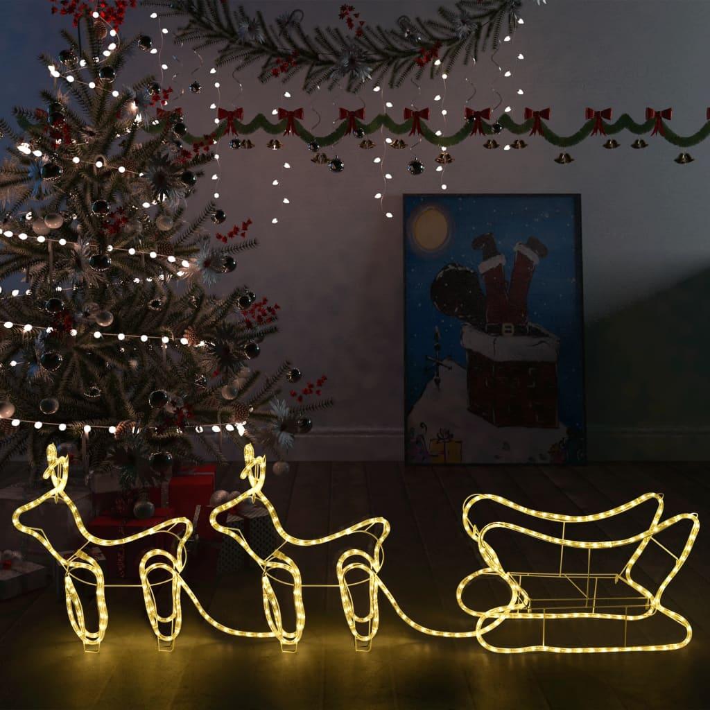 Ukrasni božićni sobovi i sanjke vanjski s 576 žarulja