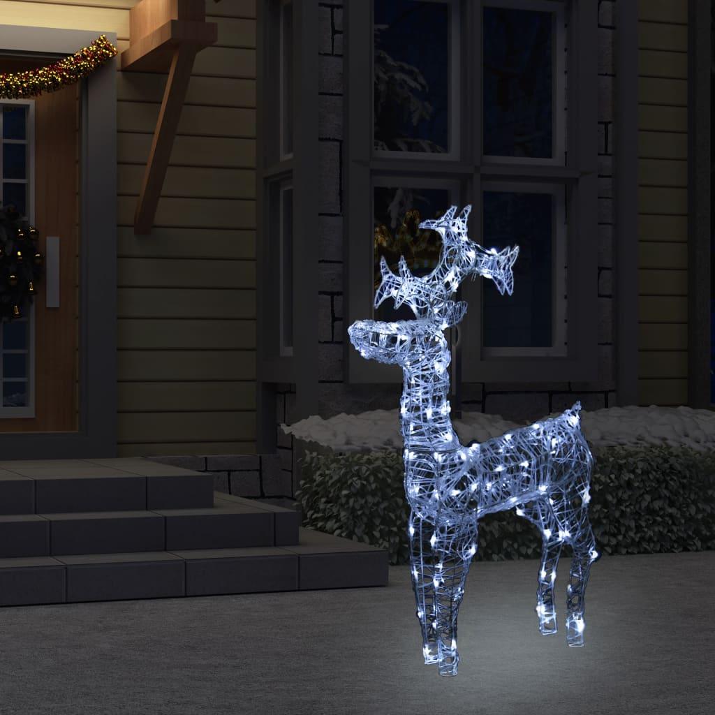 vidaXL Decorațiune de Crăciun ren, 90 leduri, 60x16x100 cm, acril imagine vidaxl.ro