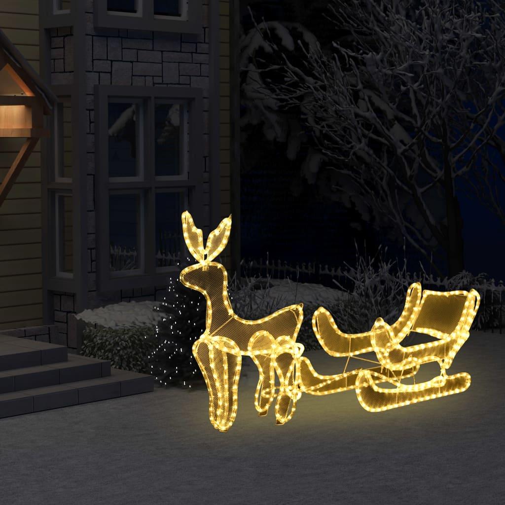 vidaXL Instalație lumini Crăciun, ren și sanie cu plasă, 216 LED-uri imagine vidaxl.ro