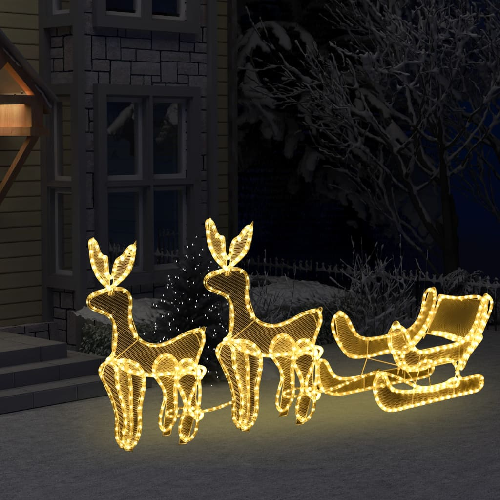 vidaXL Instalație lumini Crăciun 2 reni și sanie cu plasă 320 leduri imagine vidaxl.ro