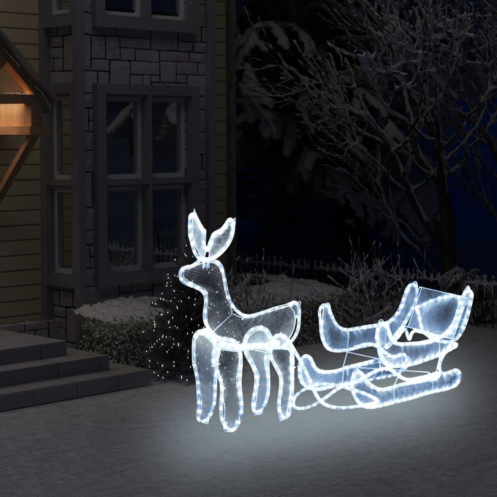 vidaXL Instalație lumini Crăciun, ren și sanie cu plasă, 216 leduri imagine vidaxl.ro