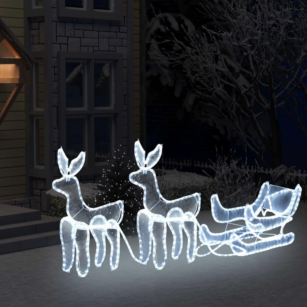 vidaXL Instalație lumini Crăciun 2 reni și sanie cu plasă, 320 LED-uri poza 2021 vidaXL