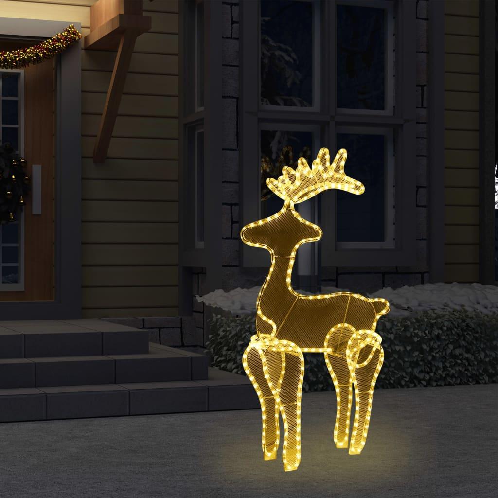 vidaXL Decorațiune de Crăciun ren cu plasă, 306 LED-uri, 60x24x89 cm poza vidaxl.ro