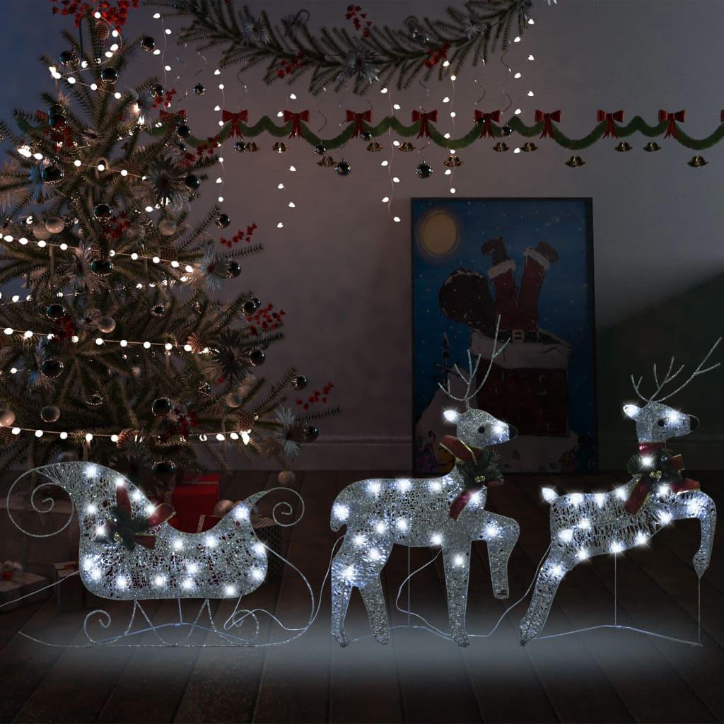 vidaXL Decor de Crăciun cu reni și sanie, 60 LED-uri argintiu exterior imagine vidaxl.ro
