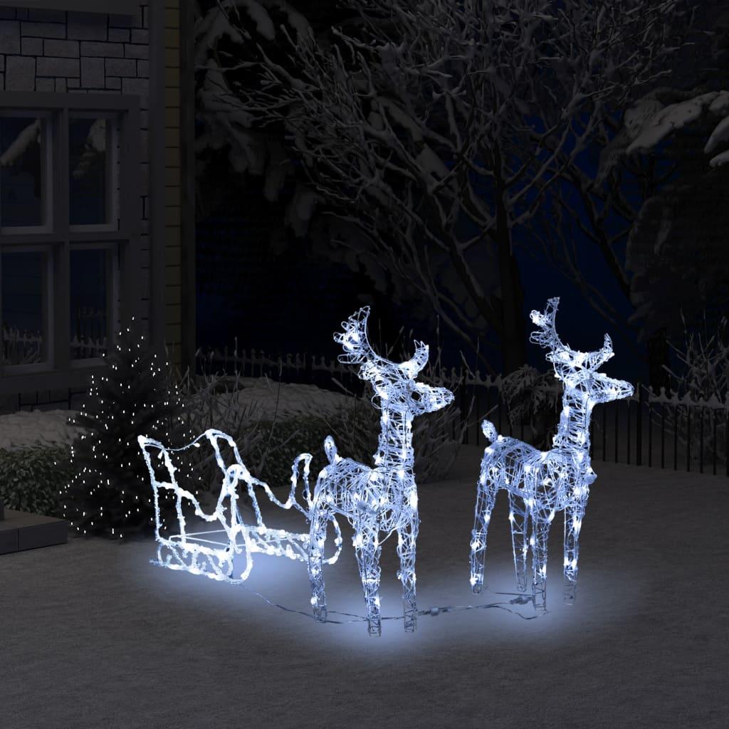 vidaXL Decorațiune de Crăciun reni și sanie 240 leduri 130 cm acrilic poza vidaxl.ro