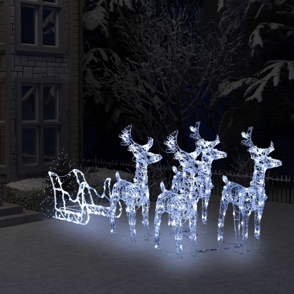 vidaXL Decorațiune de Crăciun cu reni și sanie, 400 leduri, acrilic imagine vidaxl.ro