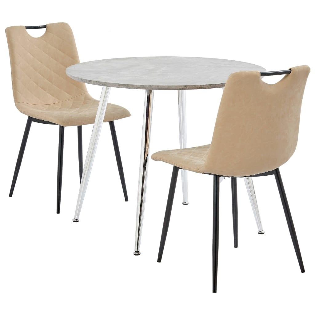 vidaXL Set mobilă de bucătărie, 3 buc., crem, piele ecologică