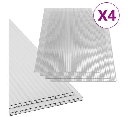 vidaXL 4x Feuilles de Polycarbonate Serre D/ôme G/éod/ésique Projet de Construction Incassable R/ésistant aux Intemp/éries 4 mm 113x60,5 cm