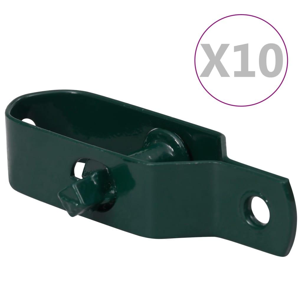 vidaXL Dispozitive tensionare sârmă gard 10 buc. verde oțel 90 mm poza vidaxl.ro