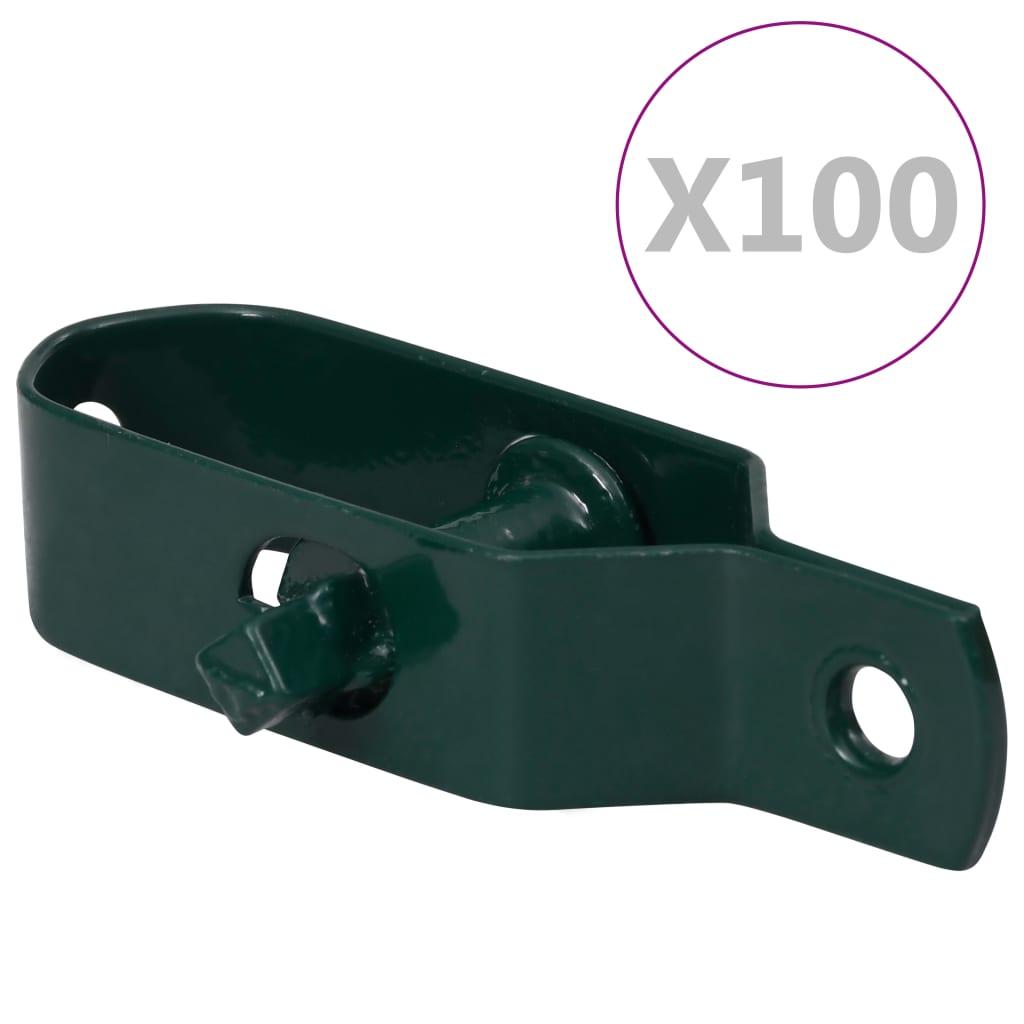 vidaXL Dispozitiv tensionare sârmă gard, 100 buc., verde oțel, 90 mm poza vidaxl.ro