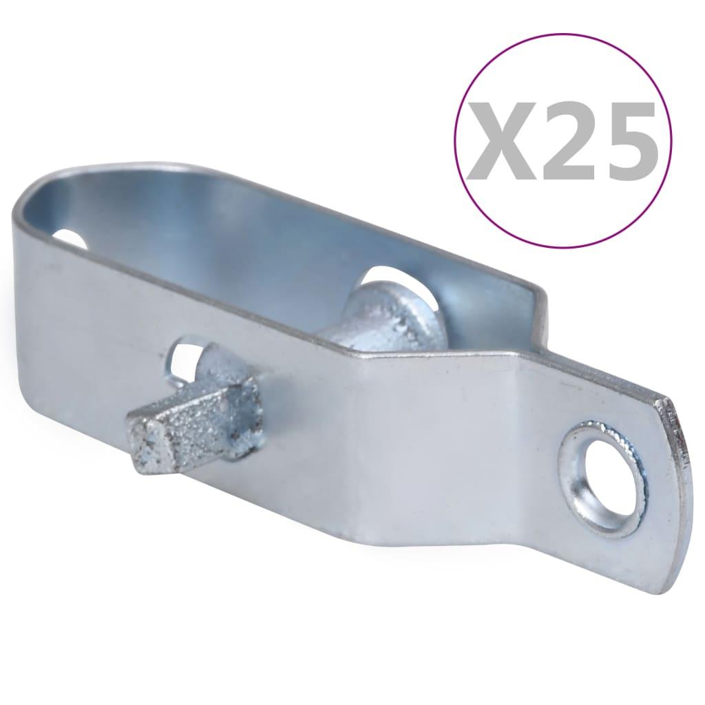 vidaXL Dispozitive tensionare sârmă gard 25 buc. argintiu 100 mm oțel poza vidaxl.ro