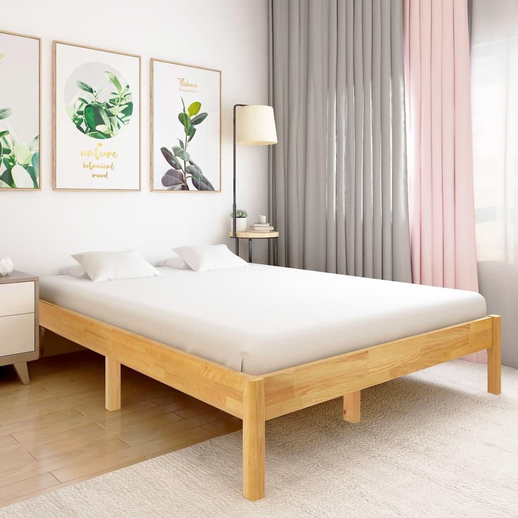vidaXL Cadru de pat, 160 x 200 cm, lemn masiv de stejar poza vidaxl.ro