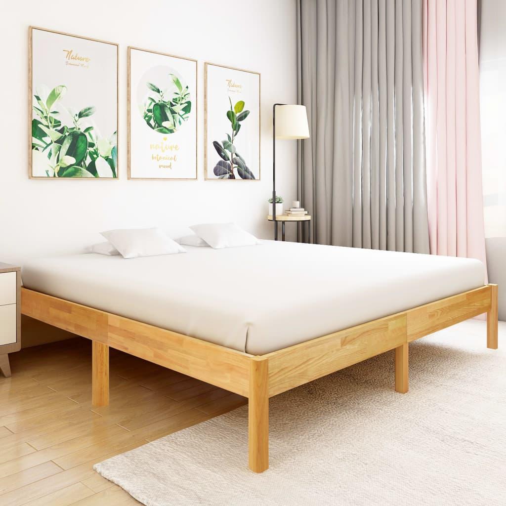vidaXL Cadru de pat, 200 x 200 cm, lemn masiv de stejar imagine vidaxl.ro