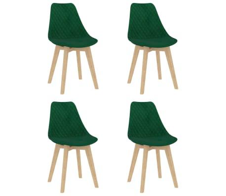 vidaXL Chaises de salle à manger 4 pcs Vert foncé Velours