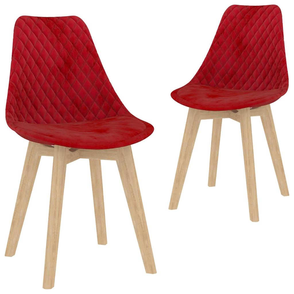 vidaXL spisebordsstole 2 stk. fløjl rød