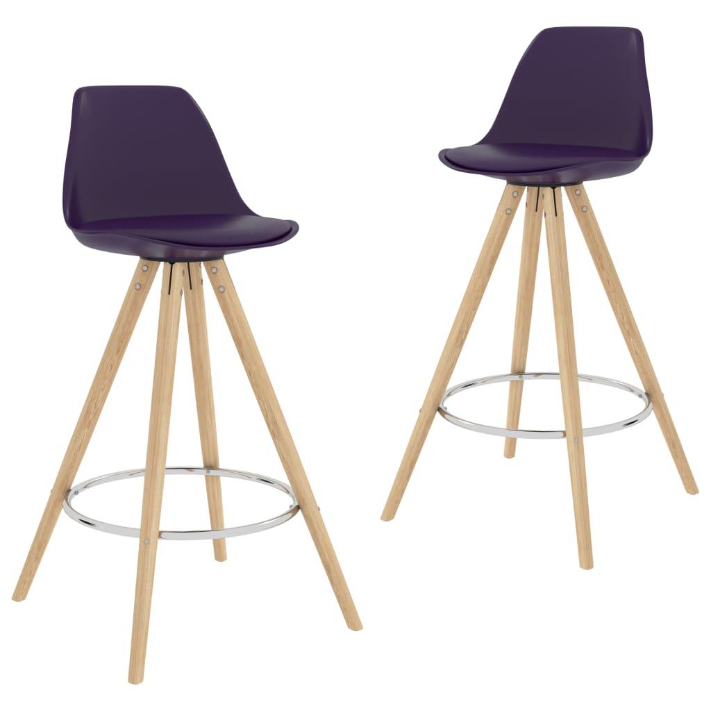 vidaXL barstole 2 stk. PP og massivt bøgetræ lilla