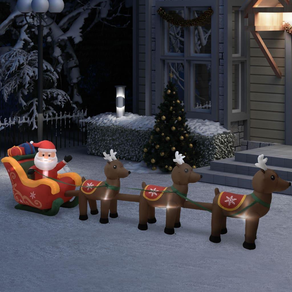 vidaXL Decorațiune gonflabilă cu Moș Crăciun și reni, LED-uri, 490 cm vidaxl.ro