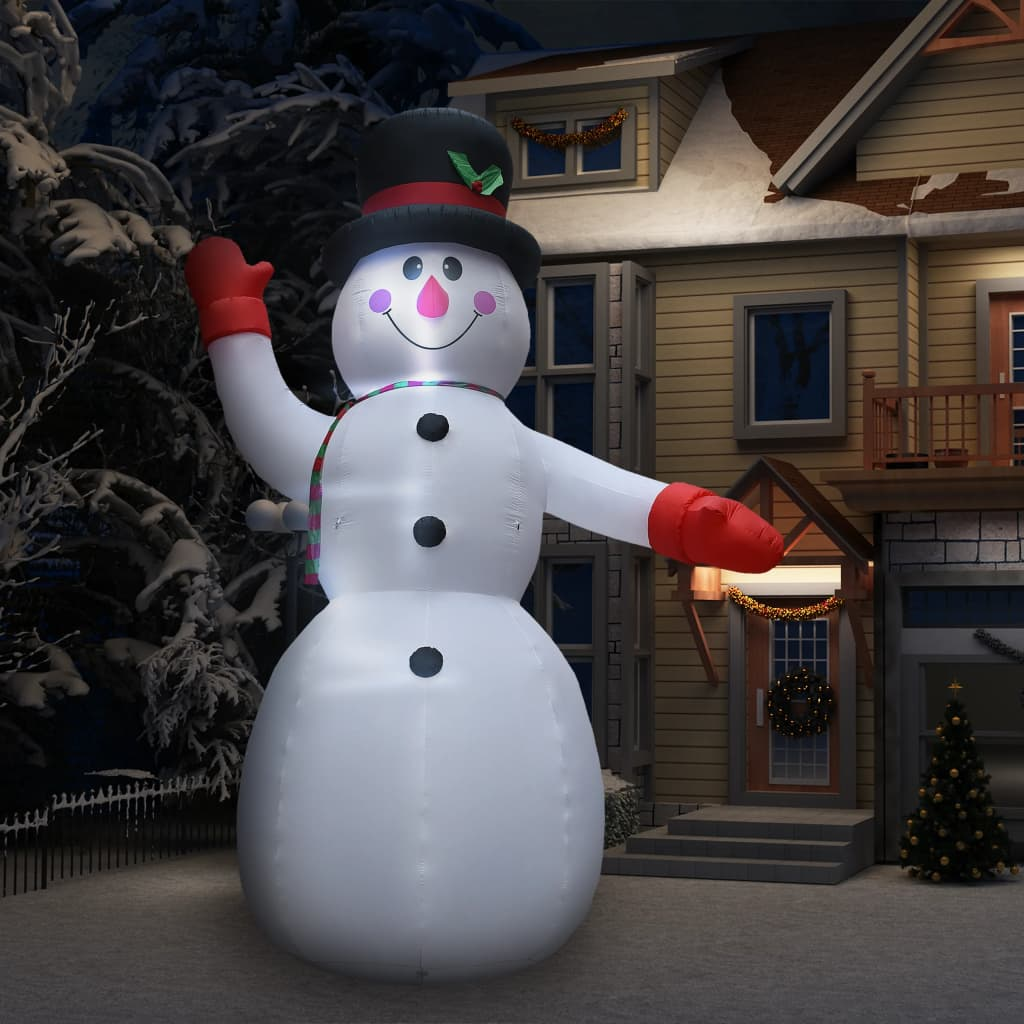 vidaXL Om de zăpadă gonflabil pentru Crăciun cu LED, IP44, 450 cm, XXL poza vidaxl.ro