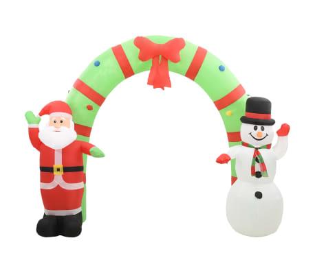 vidaXL Nadmuchiwana brama świąteczna, Mikołaj i bałwan, z LED, 280 cm