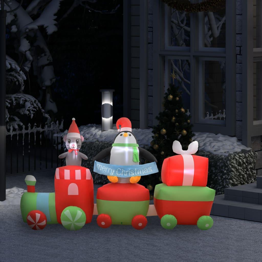 vidaXL juledekoration oppustelig pingvin & mus på tog LED IP44 350 cm