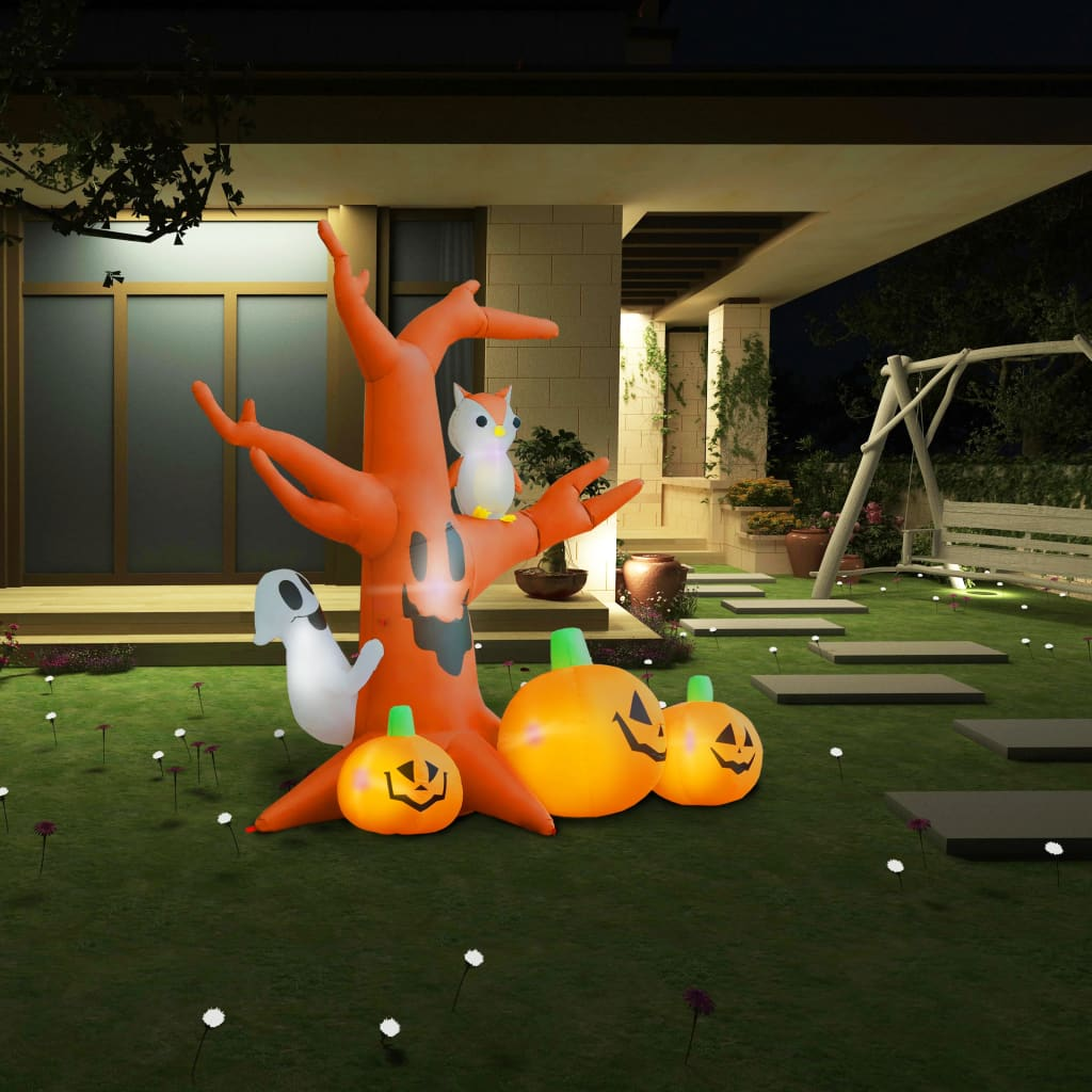 vidaXL Nadmuchiwane nawiedzone drzewo z dyniami Halloween 6 LED, 2,6 m