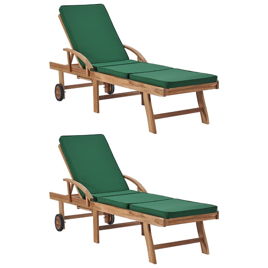 vidaXL Șezlonguri cu perne, 2 buc., verde, lemn masiv de tec poza vidaxl.ro