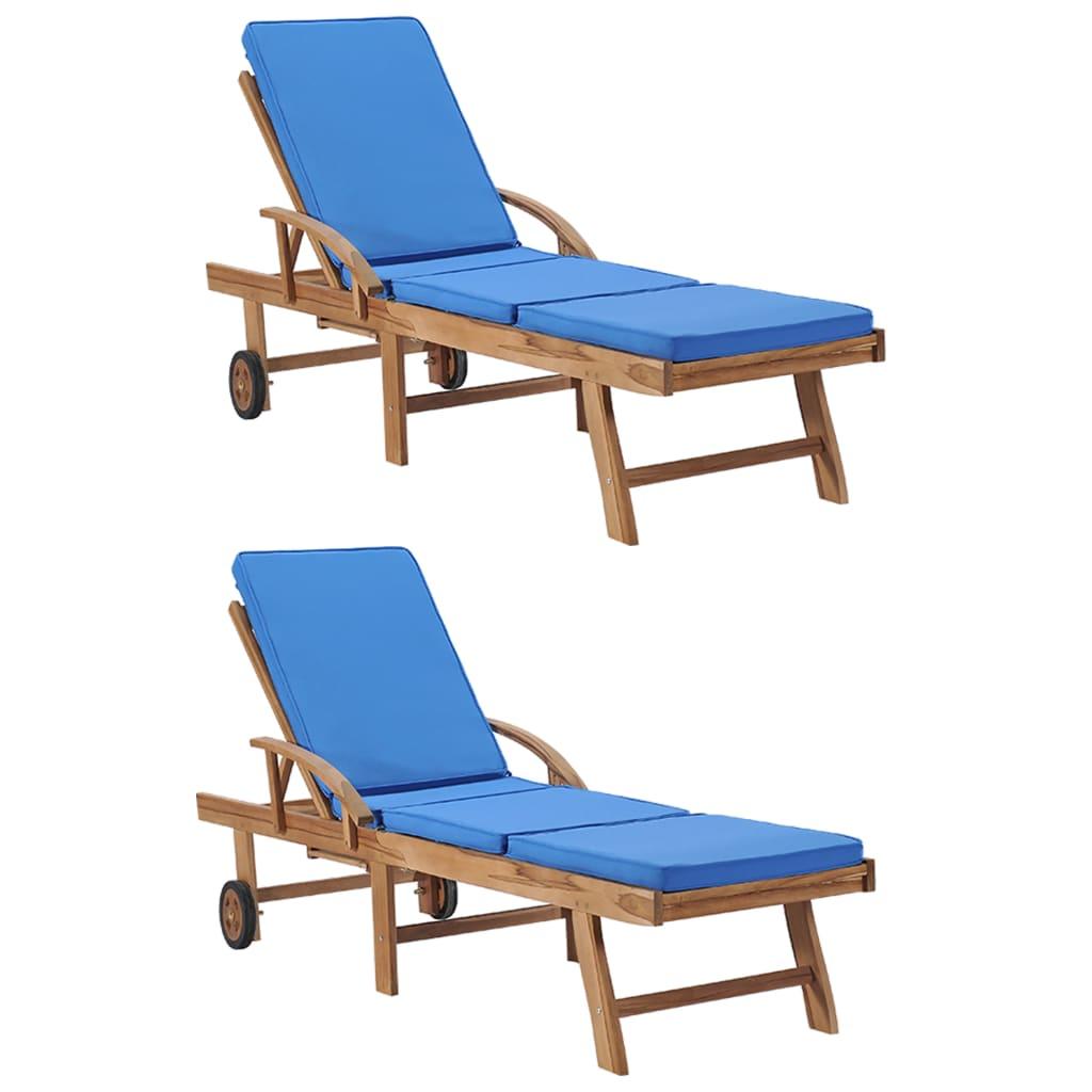 vidaXL Șezlonguri cu perne, 2 buc., albastru, lemn masiv de tec poza 2021 vidaXL