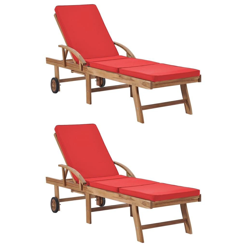 vidaXL Zahradní lehátka s poduškami 2 ks masivní teakové dřevo červená