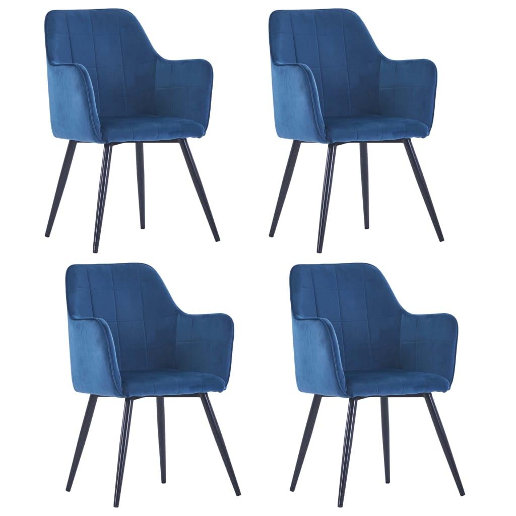 vidaXL Scaune de bucătărie, 4 buc., albastru, catifea poza 2021 vidaXL