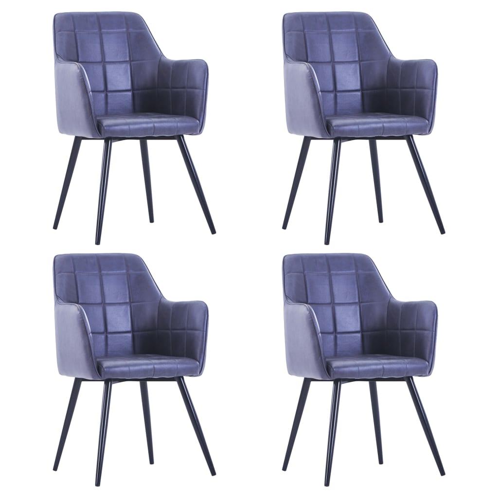 vidaXL Krzesła stołowe, 4 szt., szare, sztuczna skóra zamszowa
