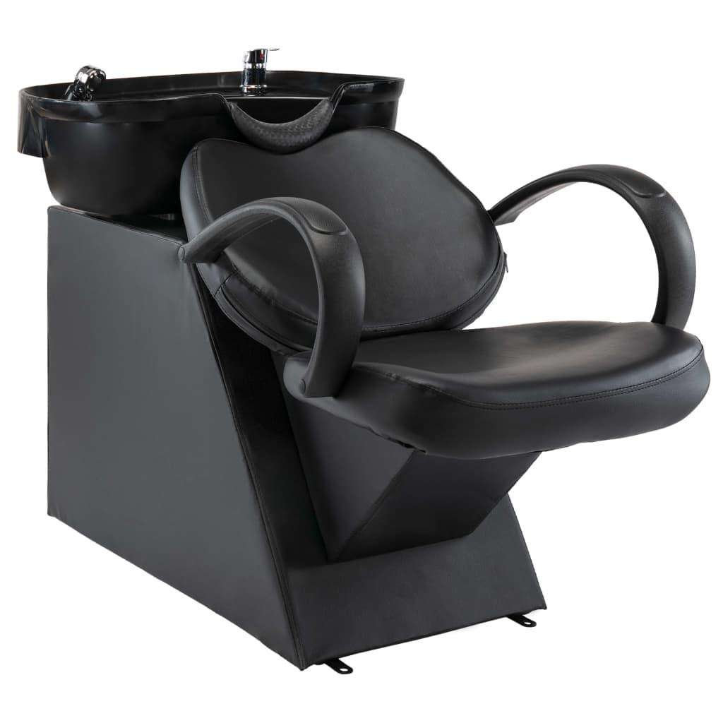 vidaXL Scaun salon șamponare, cu lavoar, negru, piele ecologică vidaxl.ro