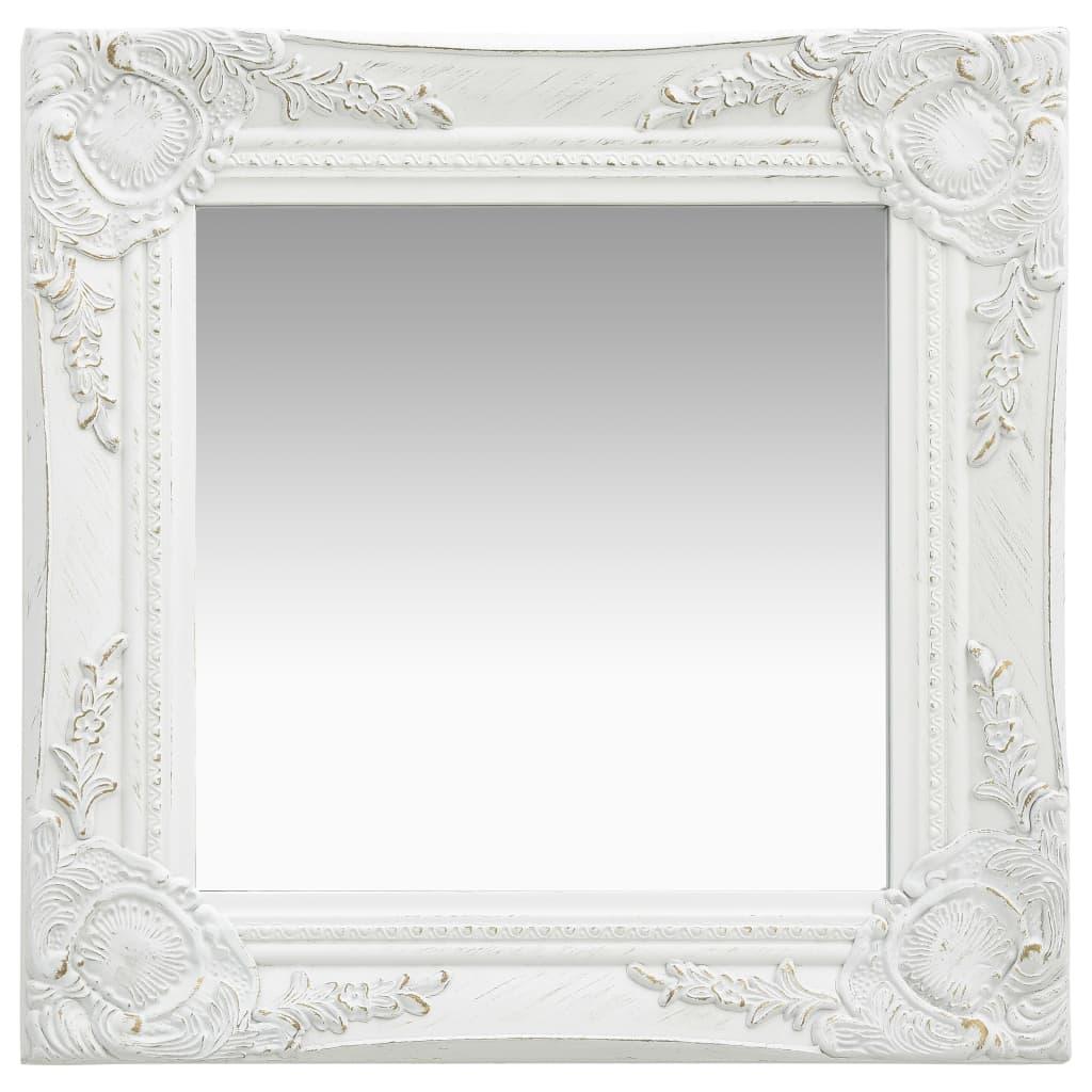 Nástěnné zrcadlo barokní styl 40 x 40 cm bílé