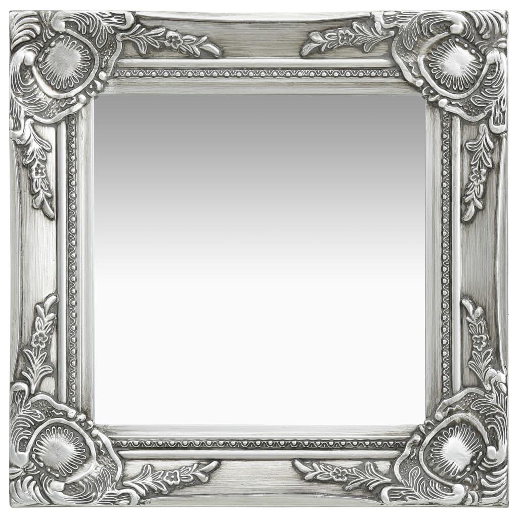 Nástěnné zrcadlo barokní styl 40 x 40 cm stříbrné
