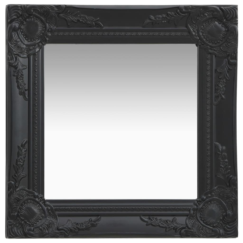 Nástěnné zrcadlo barokní styl 40 x 40 cm černé