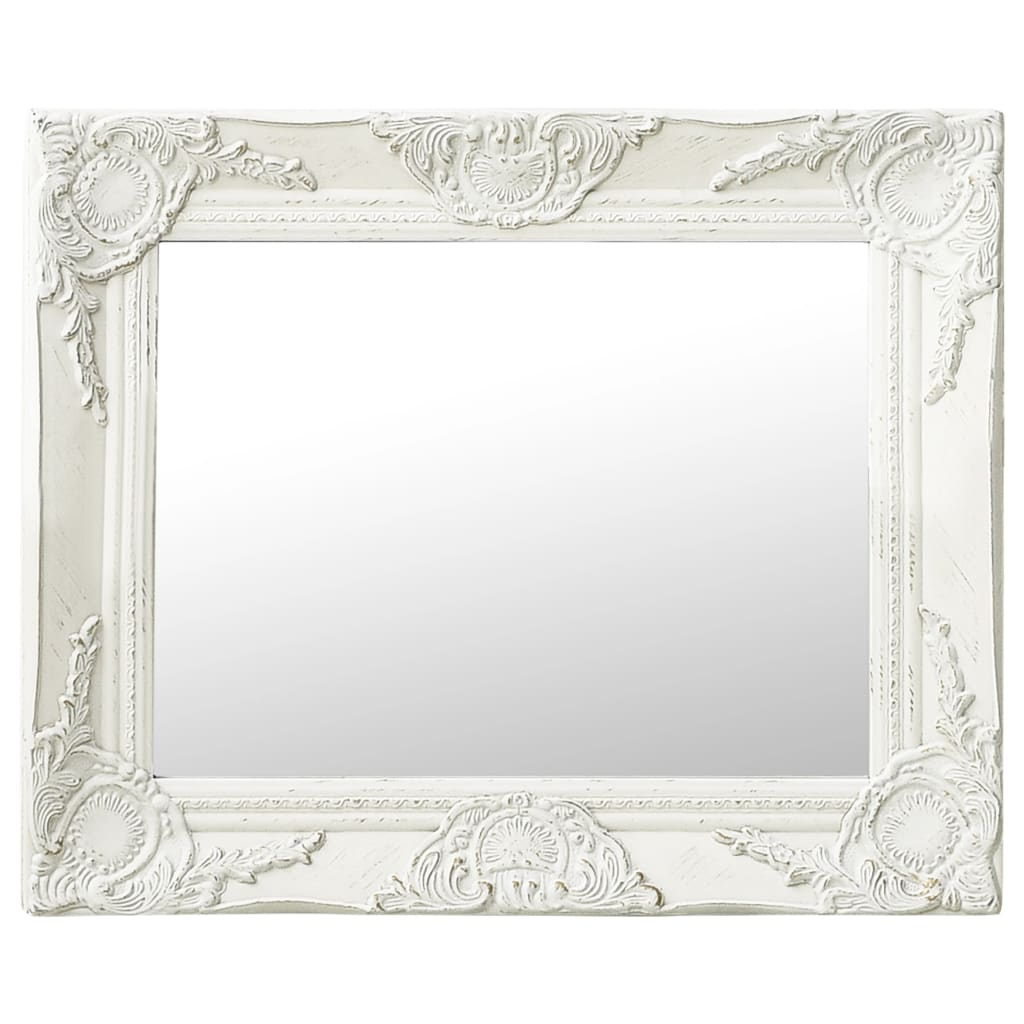vidaXL Lustro ścienne w stylu barokowym, 50x40 cm, białe