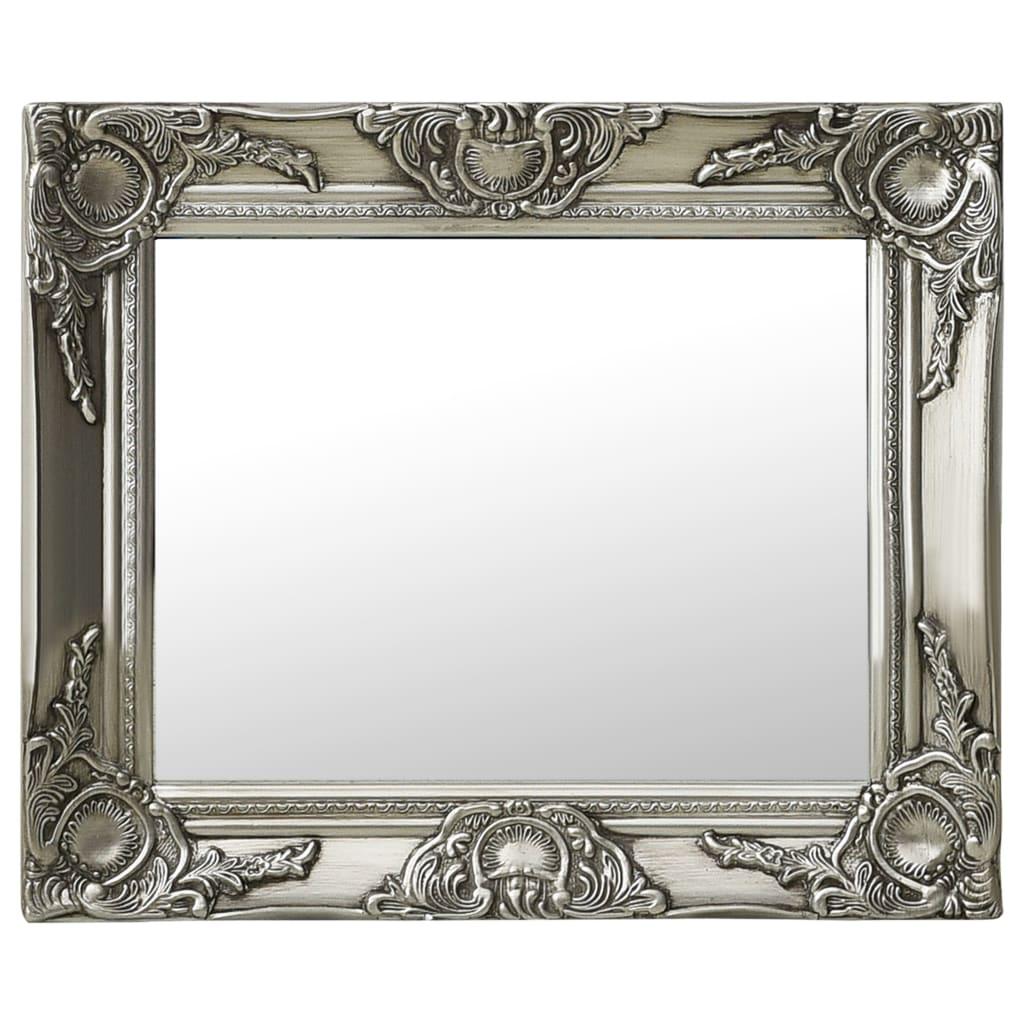 Nástěnné zrcadlo barokní styl 50 x 40 cm stříbrné